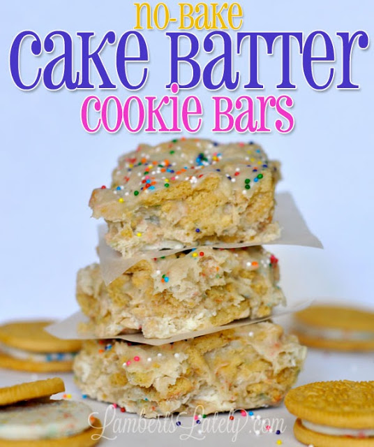 No-Bake Cake Batter Cookie Bars...absolutely delicious and ready in just a few minutes!